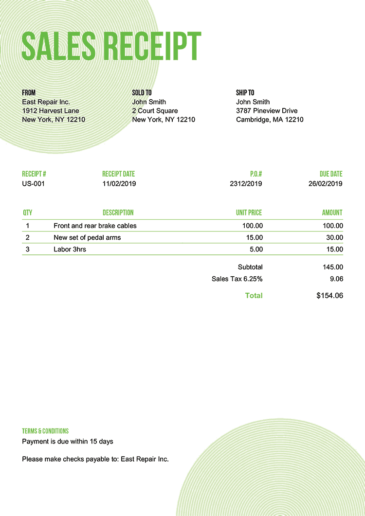 Sales Receipt Template Us Circles Green No Logo