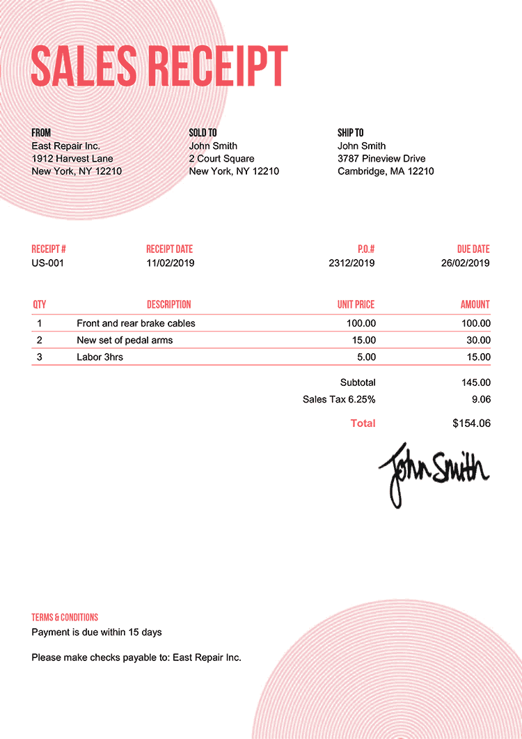 Sales Receipt Template Us Circles Pink
