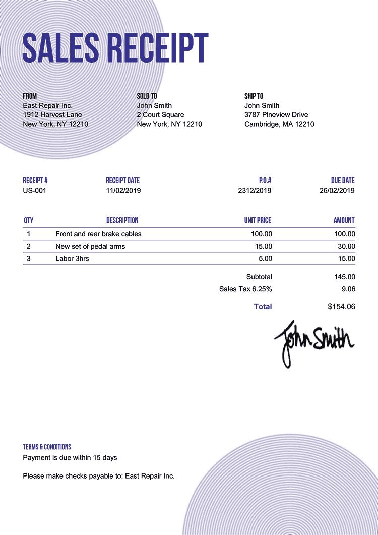 Sales Receipt Template Us Circles Purple