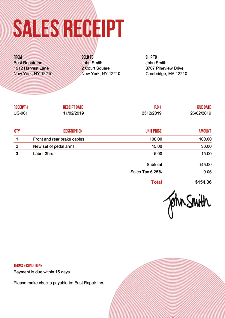 Sales Receipt Template Us Circles Red