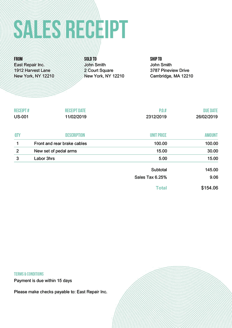 Sales Receipt Template Us Circles Turquoise No Logo