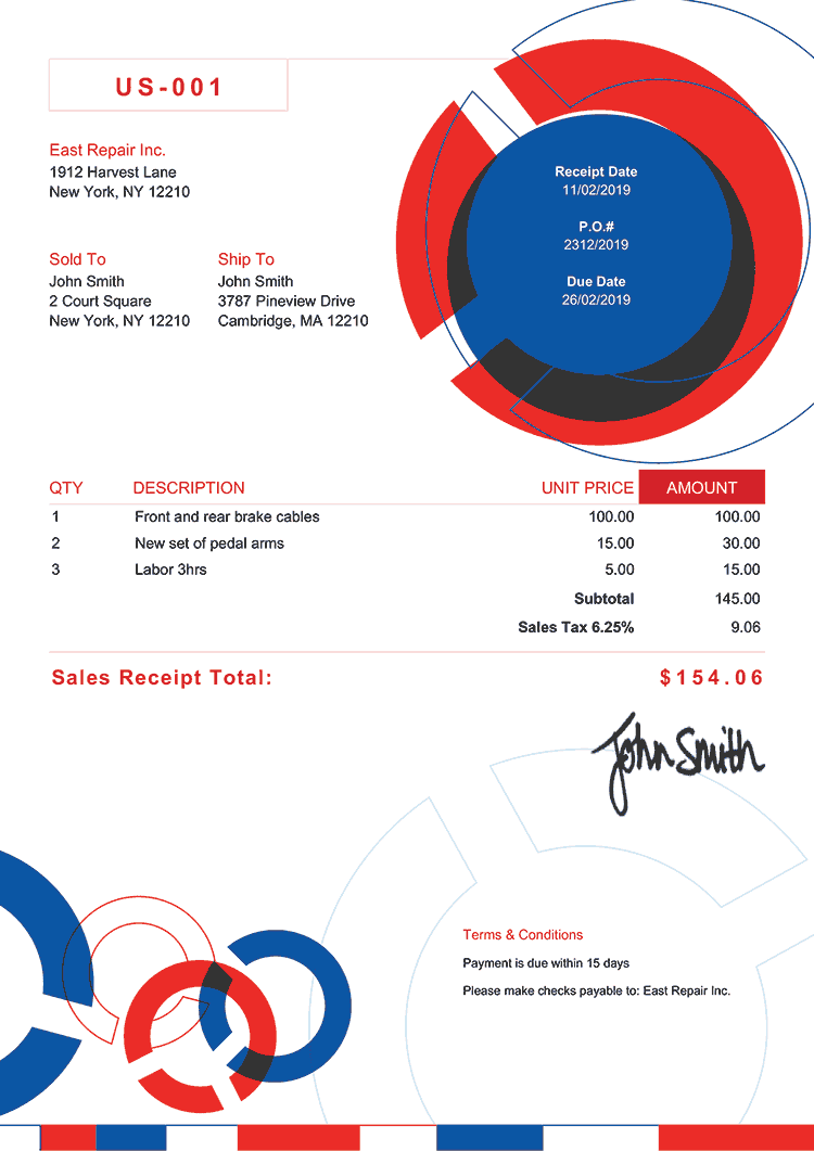 Sales Receipt Template Us Connect Rbw