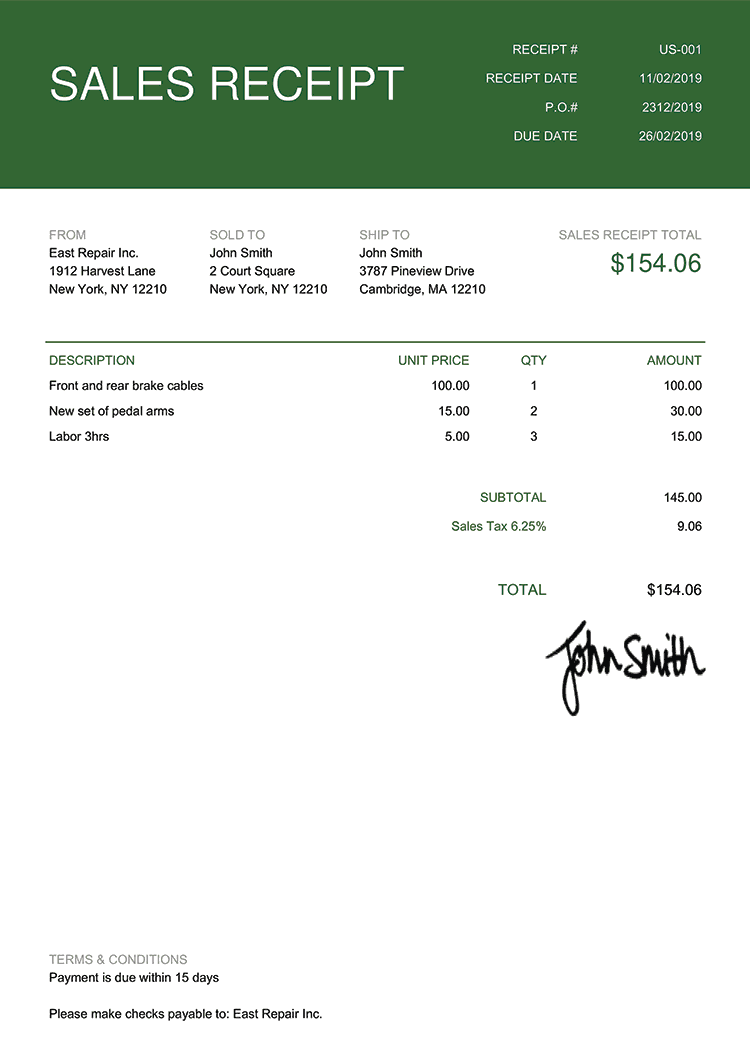 Sales Receipt Template Us Contemporary Green