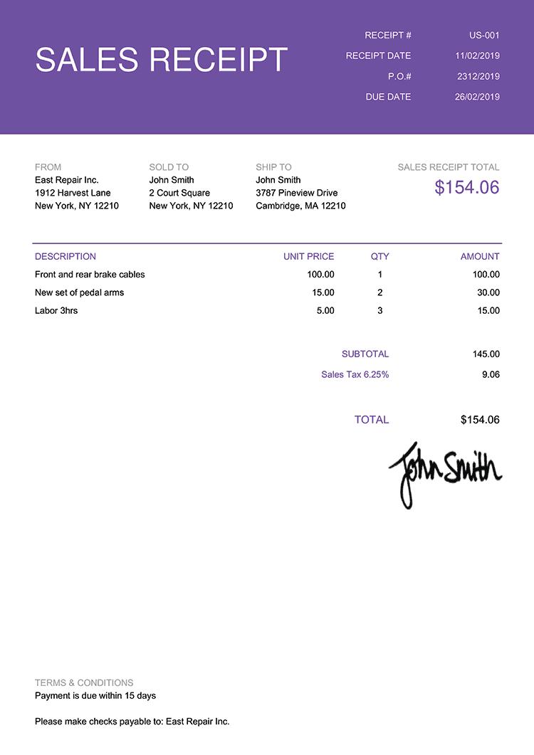 Sales Receipt Template Us Contemporary Purple