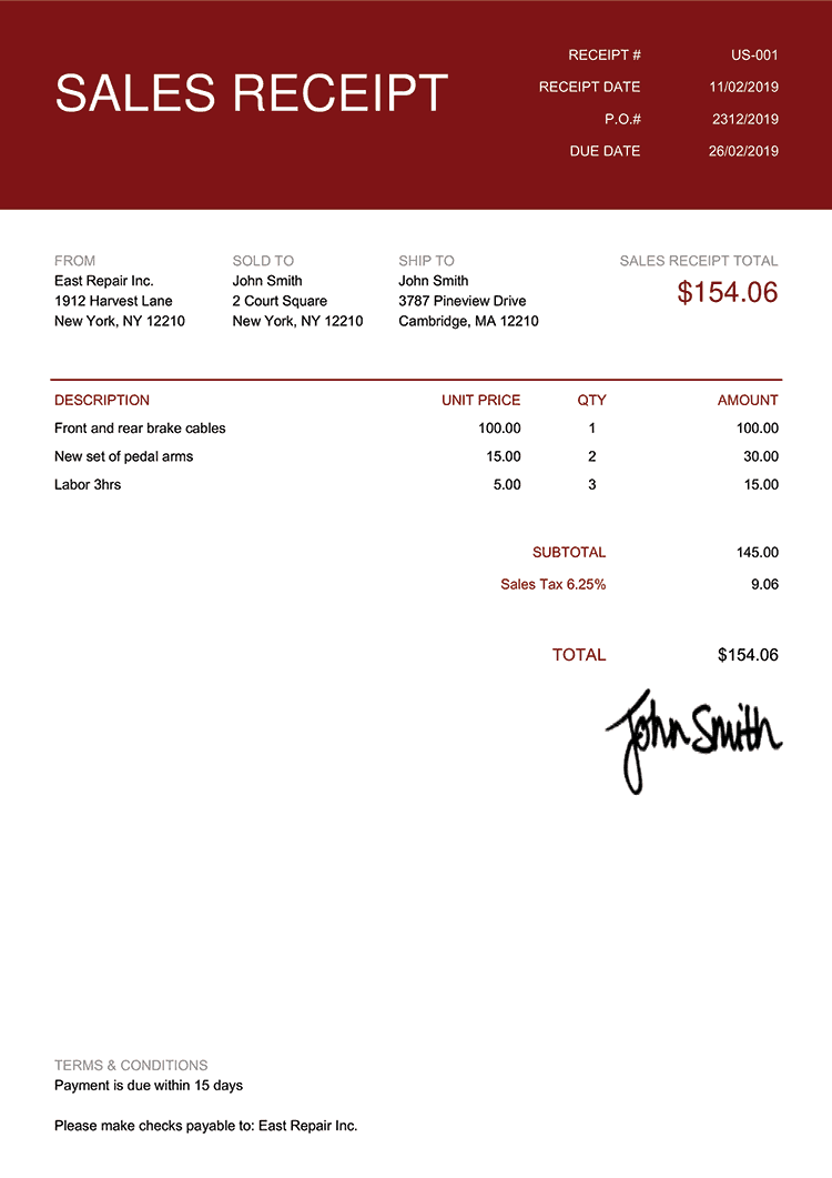 Sales Receipt Template Us Contemporary Red