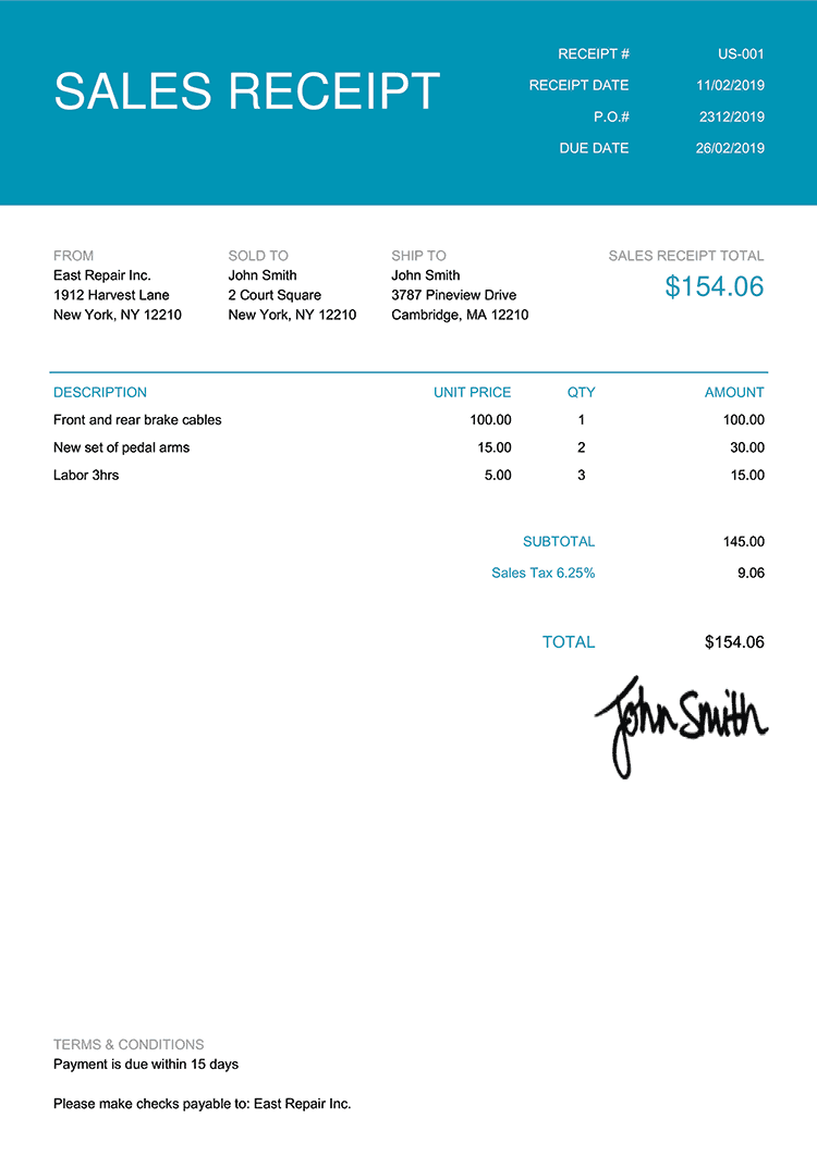 Sales Receipt Template Us Contemporary Teal