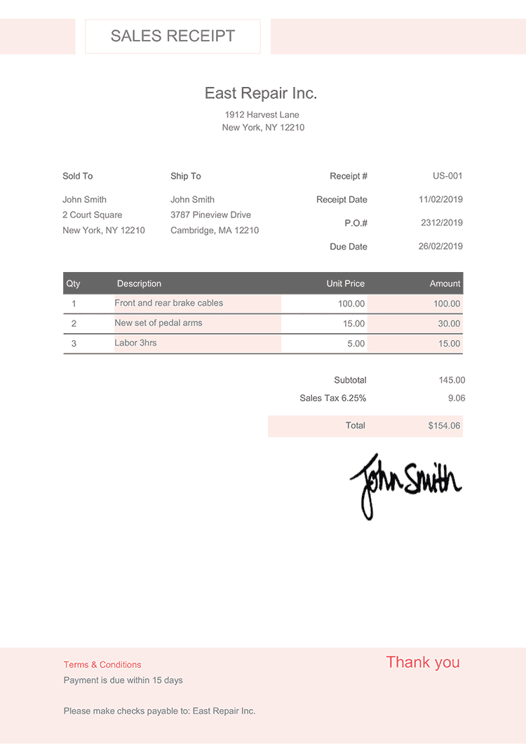 Sales Receipt Template Us Effortless Rose