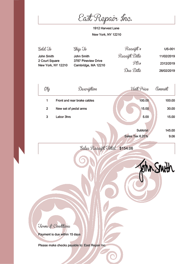 Sales Receipt Template Us Elegance Red