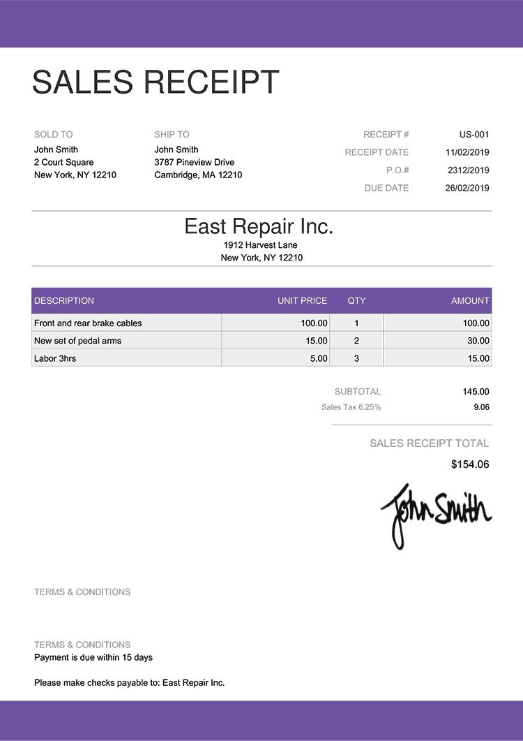 Sales Receipt Template Us Enterprise Purple