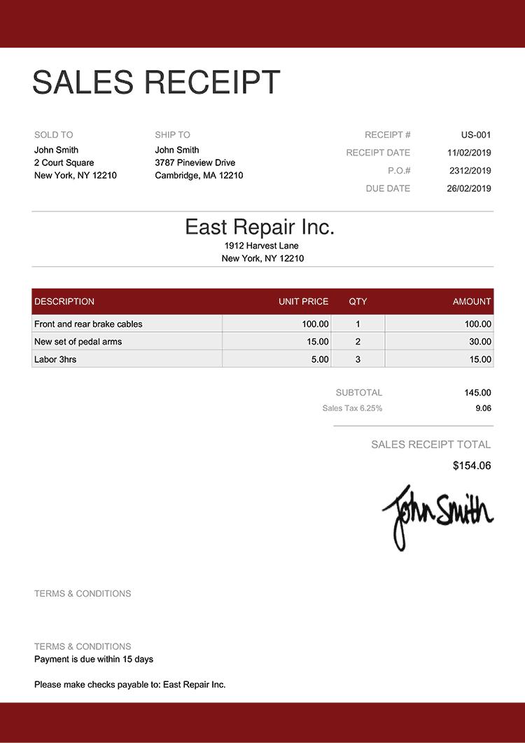 Sales Receipt Template Us Enterprise Red