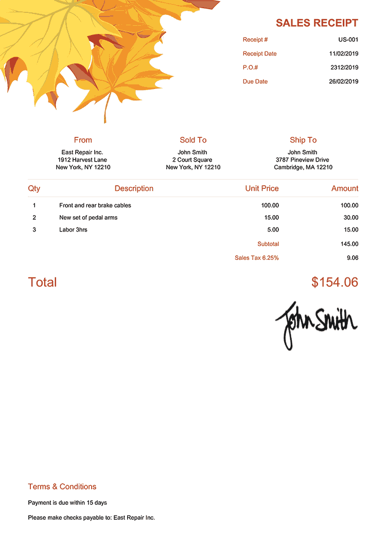 Sales Receipt Template Us Fall Leaves