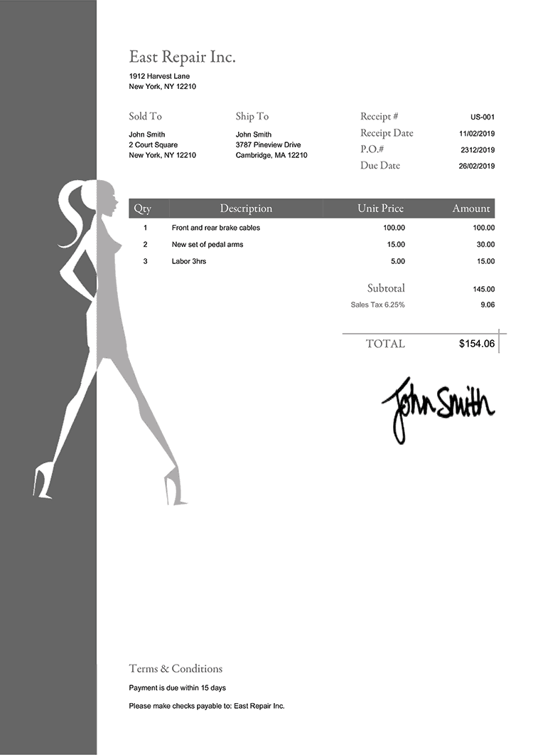 Sales Receipt Template Us Fashionista Gray
