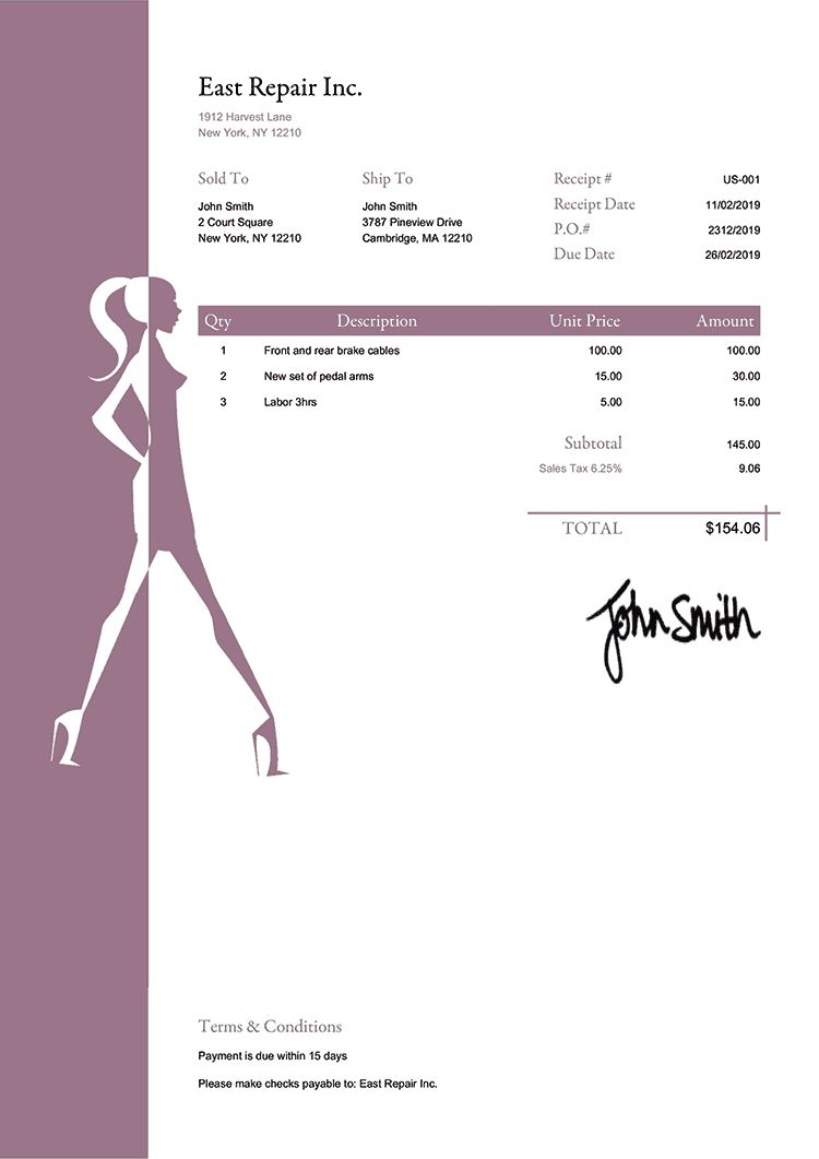 Sales Receipt Template Us Fashionista Plum