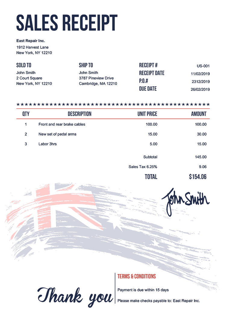 Sales Receipt Template Us Flag Of Australia