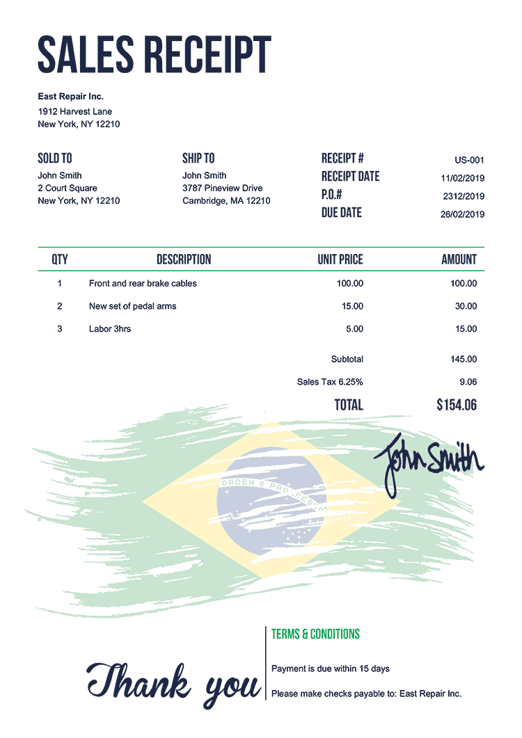 Sales Receipt Template Us Flag Of Brazil