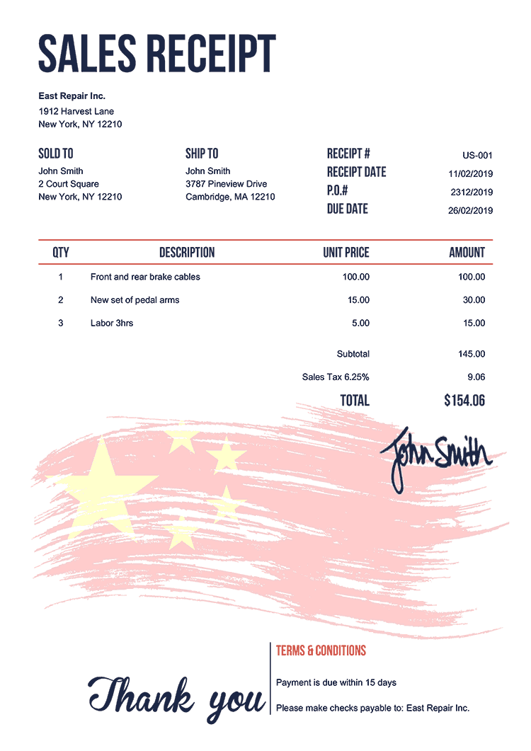 Sales Receipt Template Us Flag Of China