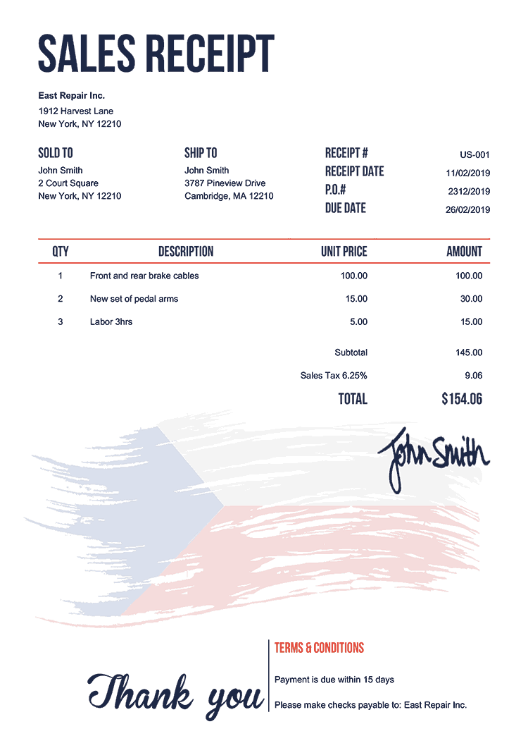 Sales Receipt Template Us Flag Of Czechia