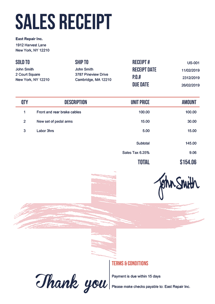 Sales Receipt Template Us Flag Of England