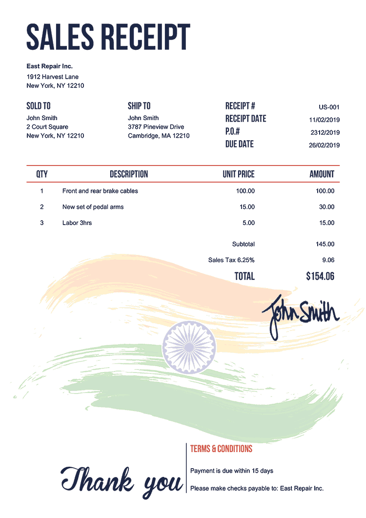Sales Receipt Template Us Flag Of India