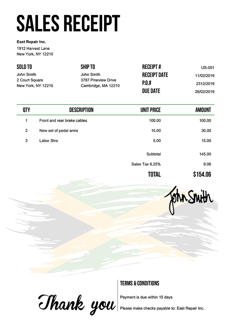 Sales Receipt Template Us Flag Of Jamaica