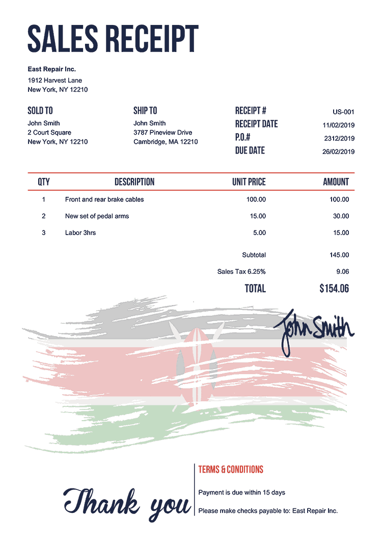 Sales Receipt Template Us Flag Of Kenya