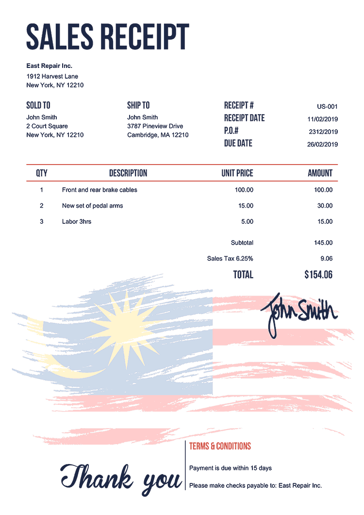 Sales Receipt Template Us Flag Of Malaysia