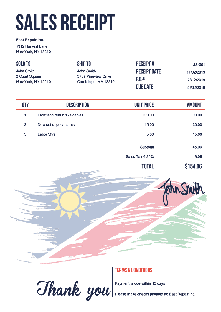 Sales Receipt Template Us Flag Of Namibia
