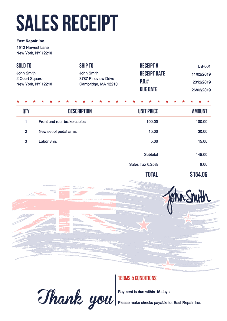 Sales Receipt Template Us Flag Of New Zealand