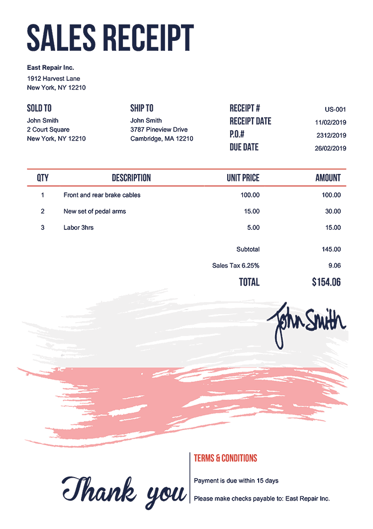 Sales Receipt Template Us Flag Of Poland