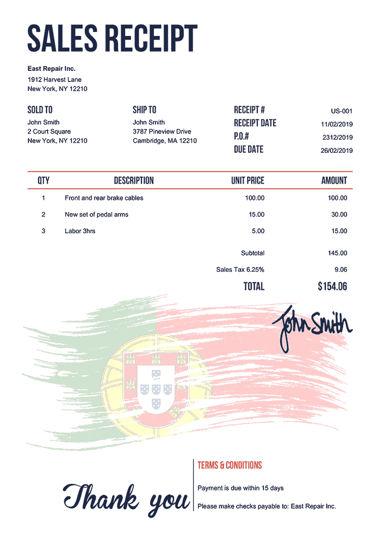Sales Receipt Template Us Flag Of Portugal