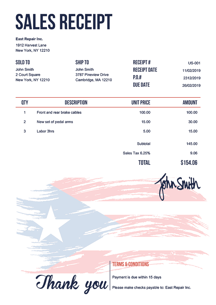 Sales Receipt Template Us Flag Of Puerto Rico