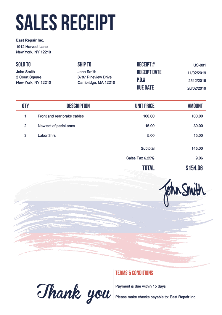 Sales Receipt Template Us Flag Of Russia