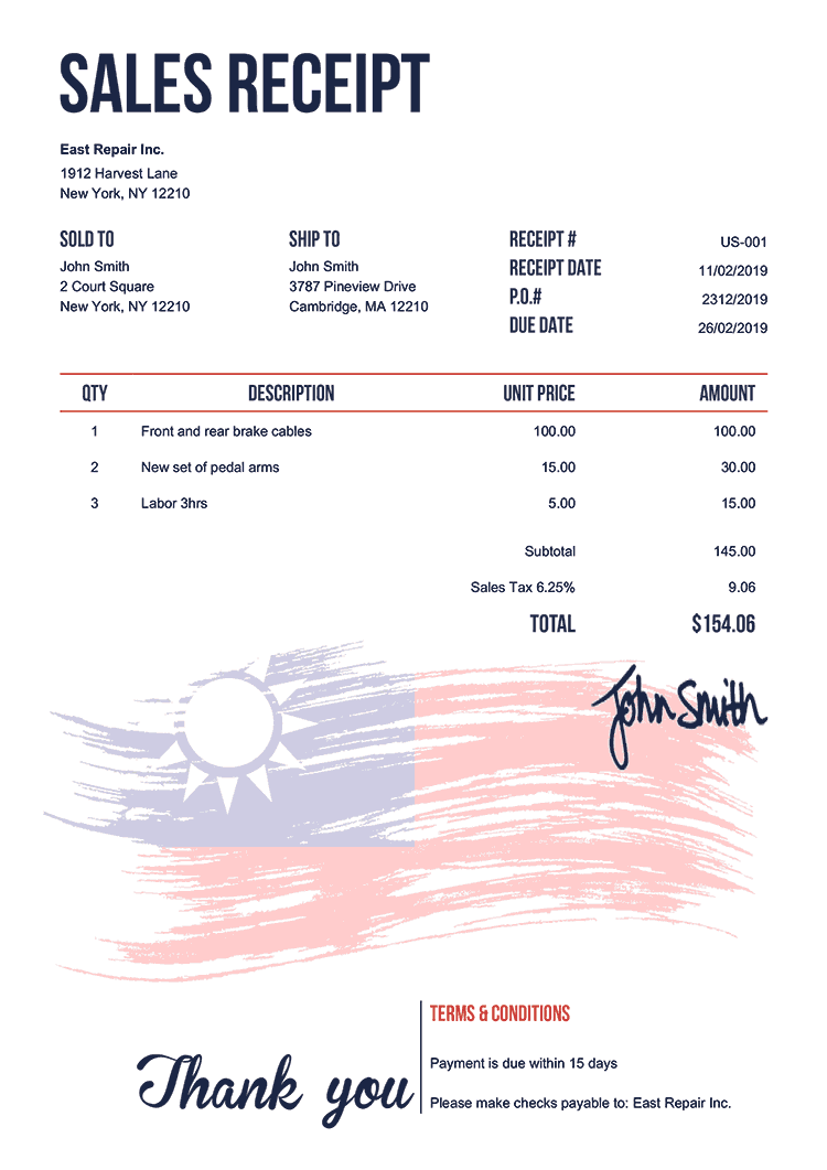 Sales Receipt Template Us Flag Of Taiwan