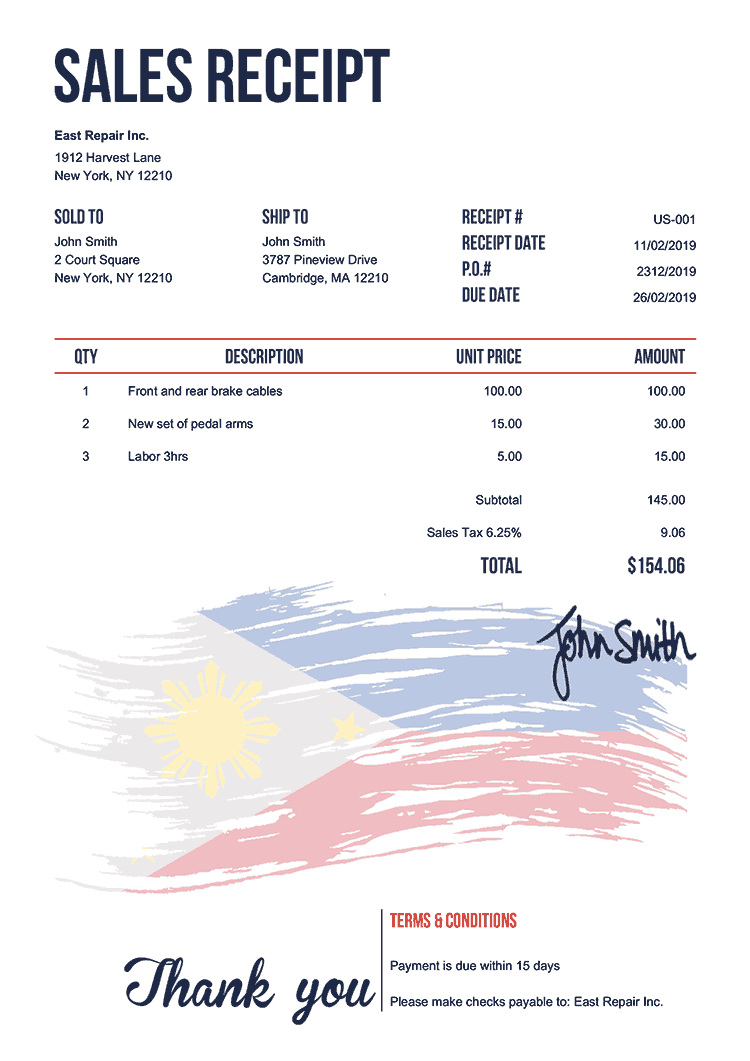Sales Receipt Template Us Flag Of The Philippines
