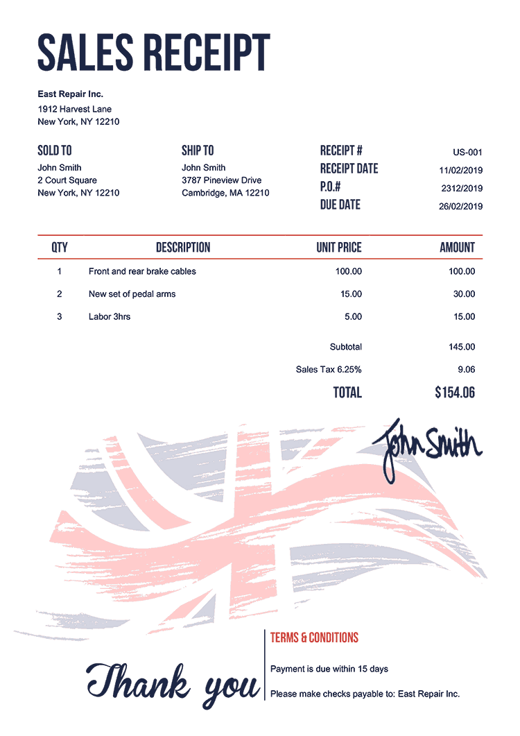 Sales Receipt Template Us Flag Of United Kingdom