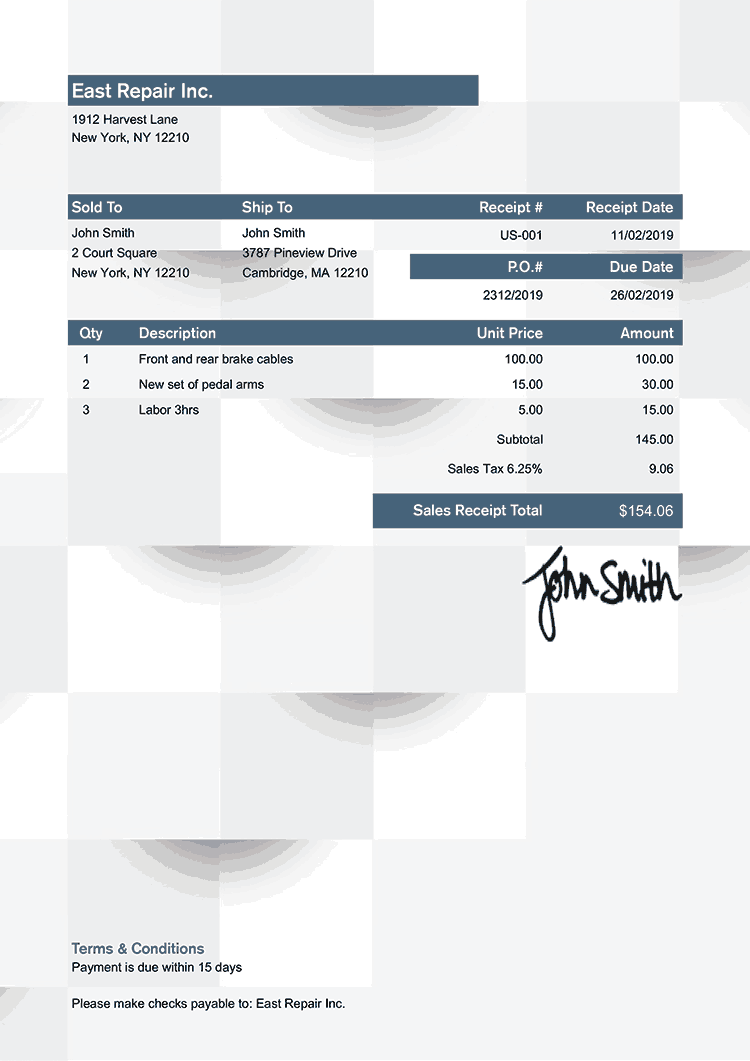 Sales Receipt Template Us Geometric Blue