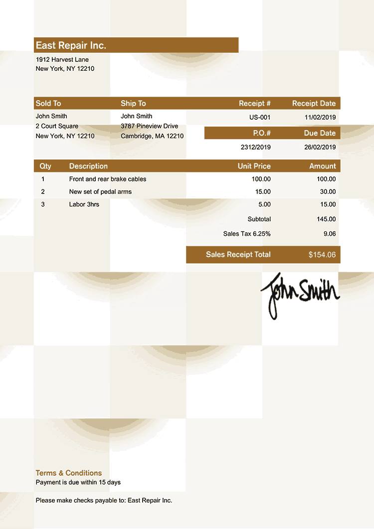 Sales Receipt Template Us Geometric Bronze