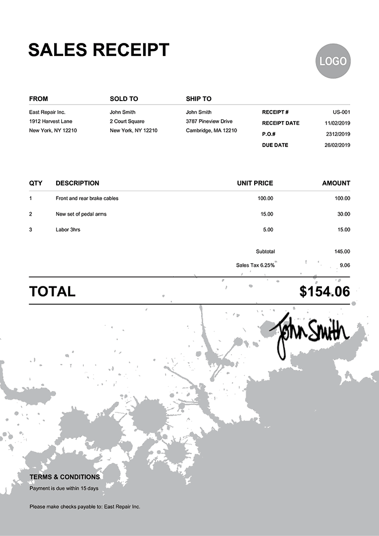 Sales Receipt Template Us Ink Blot Black