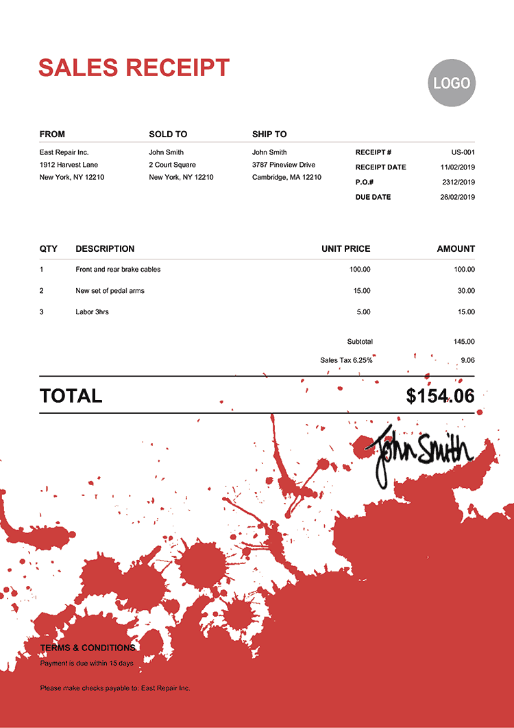 Sales Receipt Template Us Ink Blot Red