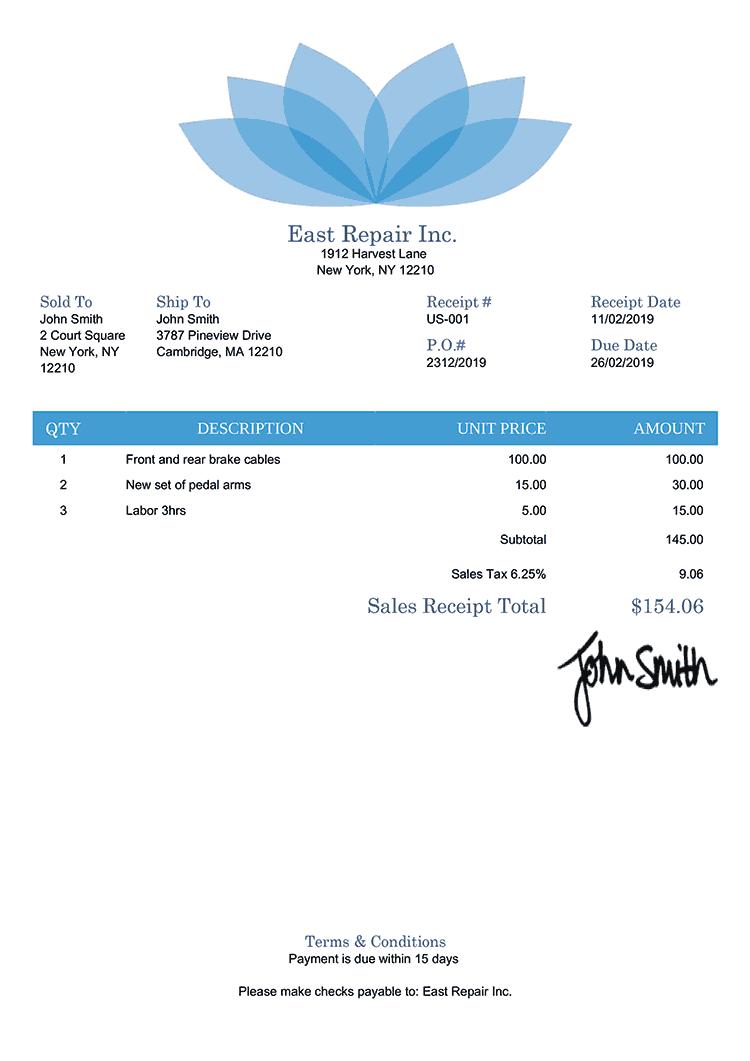 Sales Receipt Template Us Lotus Blue