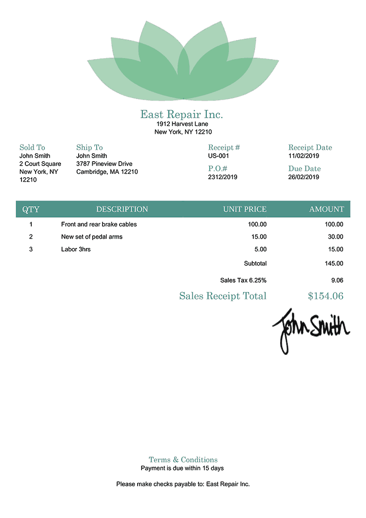 Sales Receipt Template Us Lotus Green