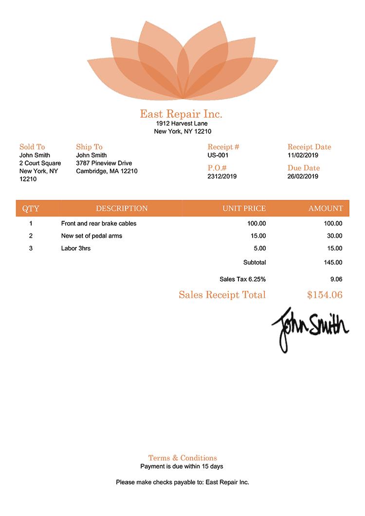 Sales Receipt Template Us Lotus Orange
