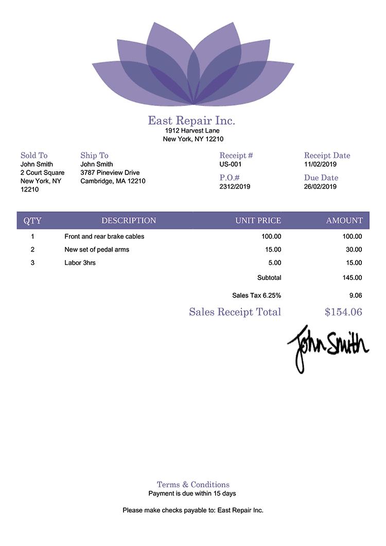 Sales Receipt Template Us Lotus Purple