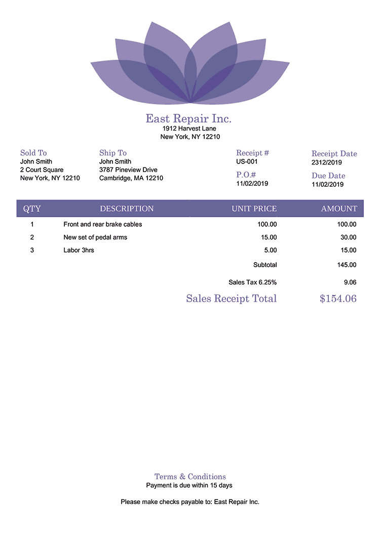 Sales Receipt Template Us Lotus Purple No Logo
