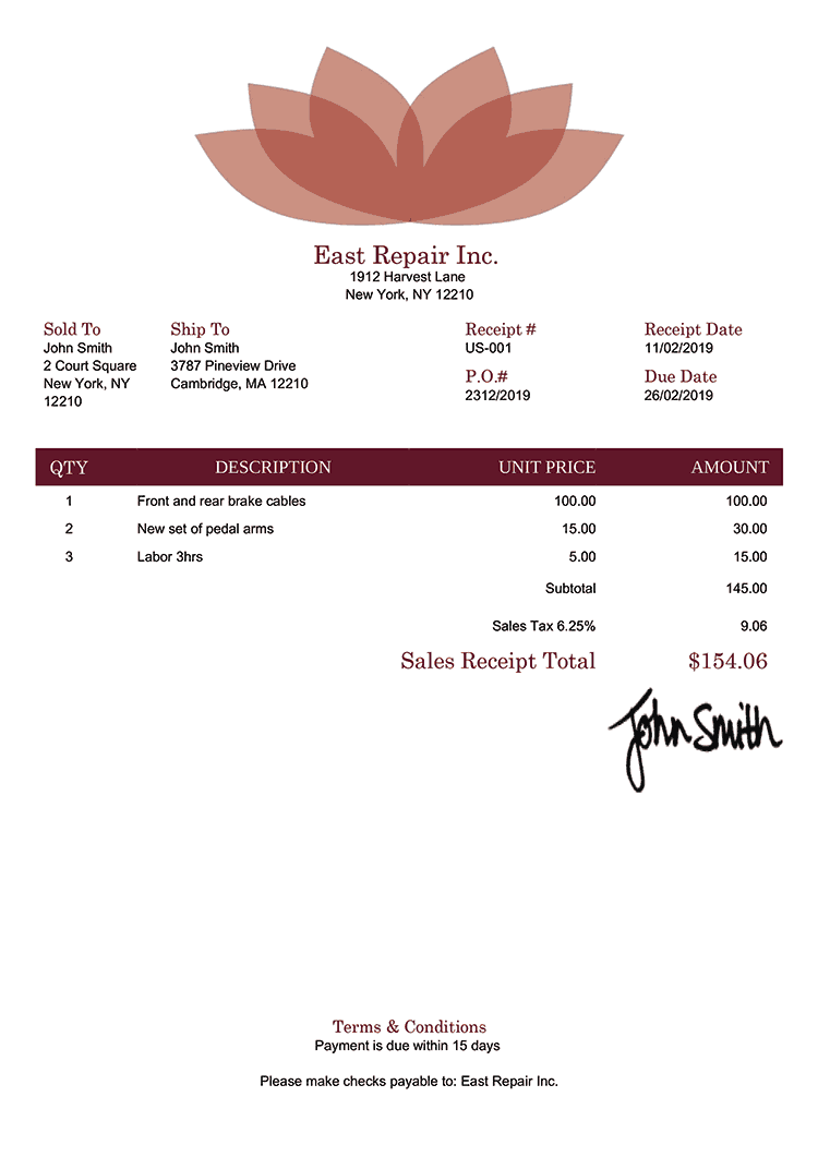 Sales Receipt Template Us Lotus Red
