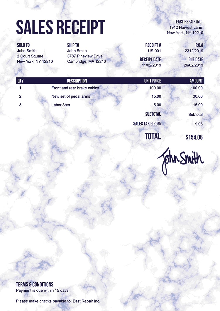 Sales Receipt Template Us Marble Blue