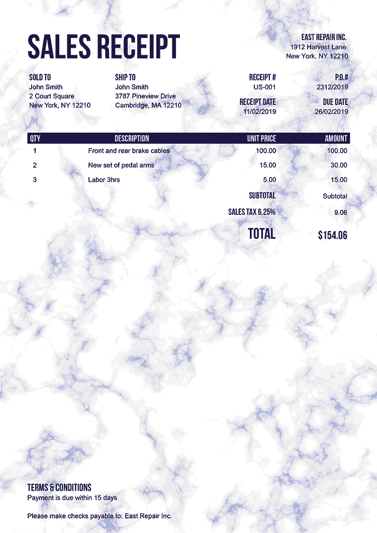 Sales Receipt Template Us Marble Blue No Logo