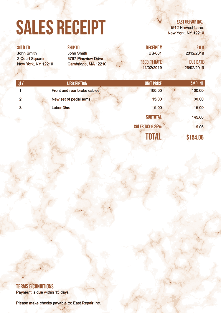 Sales Receipt Template Us Marble Orange No Logo