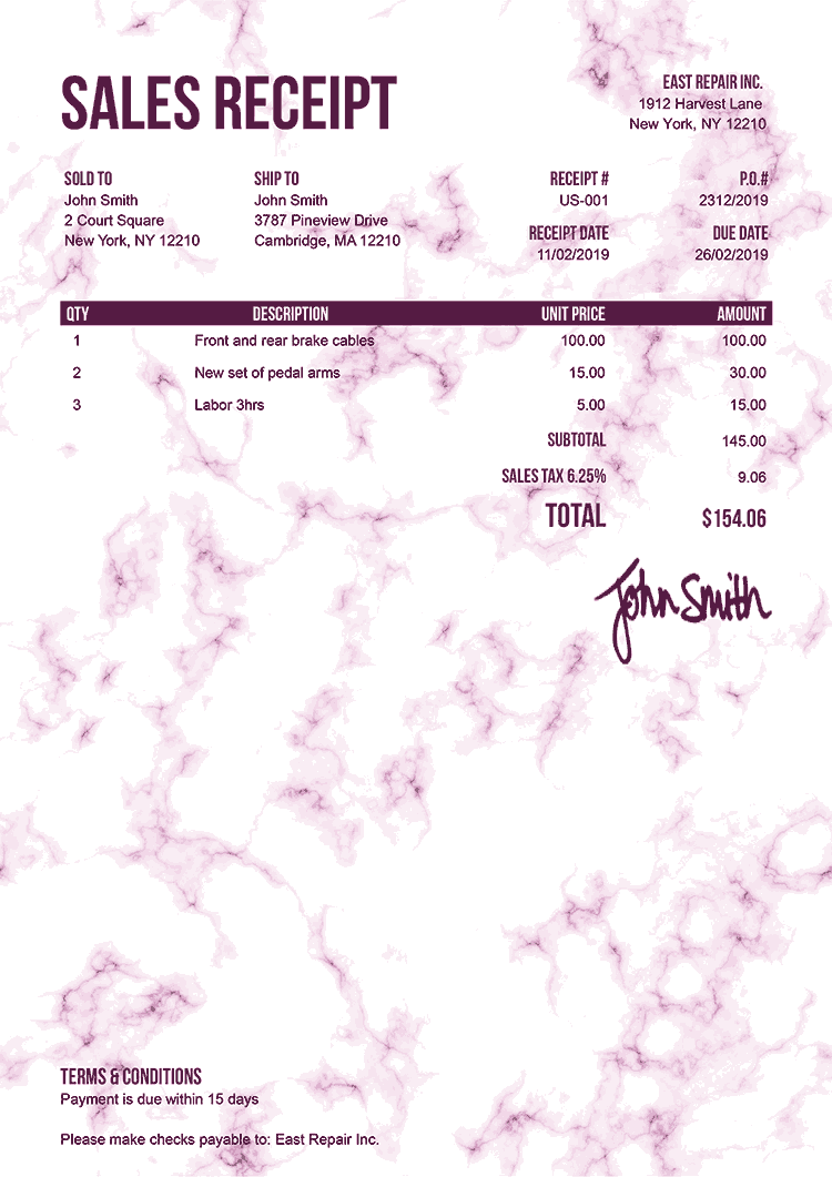 Sales Receipt Template Us Marble Pink