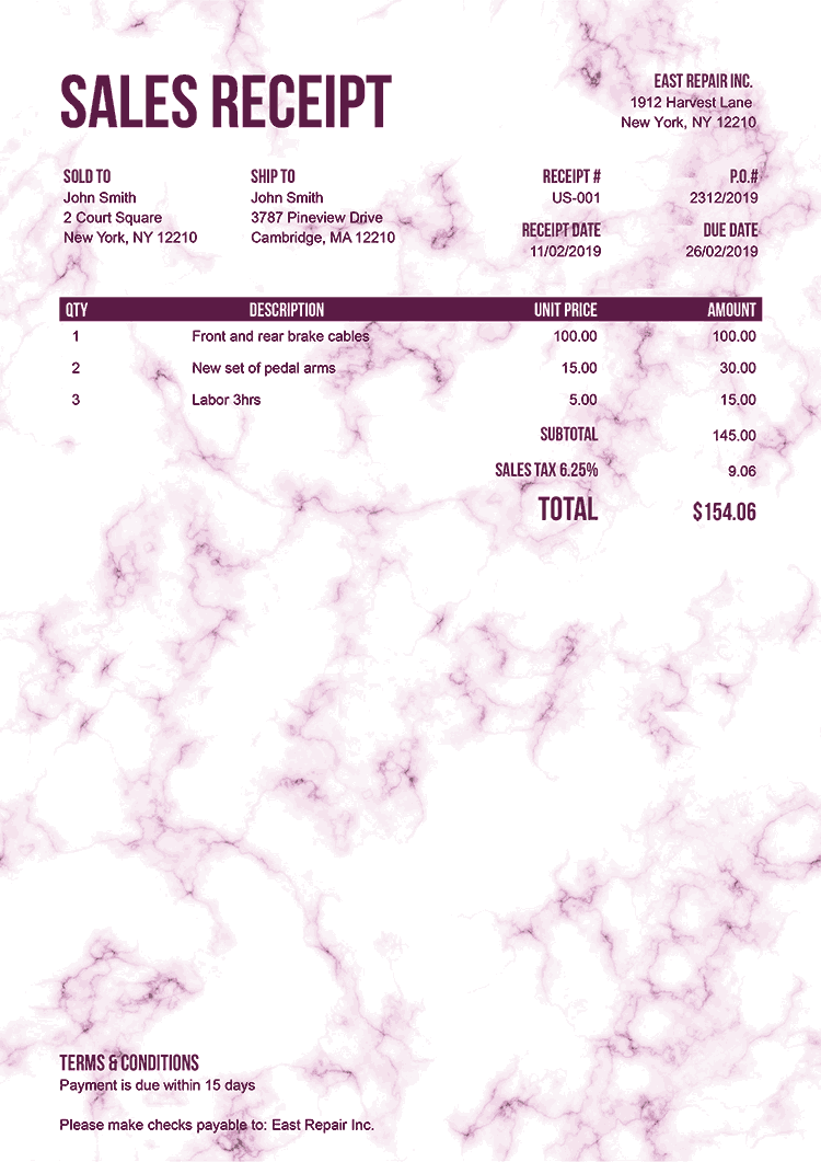 Sales Receipt Template Us Marble Pink No Logo